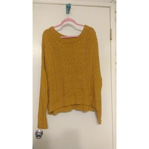 Mossimo Supply Co. Mustard Cable Knit Sweater